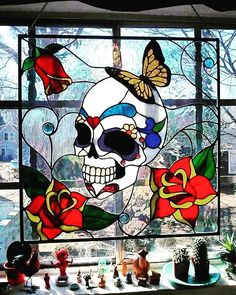 Skull stained Glass Window Check us out on Fb Unique Intuitions Stained Glass Designs, Stained Glass Panels, Stained Glass Projects, Stained Glass Patterns, Stained Glass Art, Mosaic Glass, Fused Glass, Beveled Glass, Blown Glass