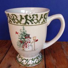 We Can Build A Snowman Green Sponge Pedestal Mug Christmas Tree Winter