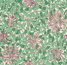 Honeysuckle (WM7611/4) - Morris Wallpapers - A flat wallpaper that is suitable for use in most rooms. It is however not recommended for use in kitchens or bathrooms