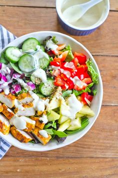 Thai Curry Chicken Salad Bowls with a Creamy Dijon Dressing -- a meal sized salad that's bright fresh flavorful and filling! Curry Recipes, Salad Recipes, Diet Recipes, Chicken Recipes, Healthy Recipes, Healthy Chicken, Lunch Recipes, Delicious Recipes, Clean Eating