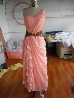 Modest Aline Chiffon One Shoulder Zip up Floor by kissbridal, $158.00 pink goddess prom dress greek