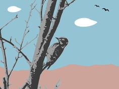 landscape with woodpecker by @yamachem, The image depicts a landscape which includes a woodpecker, crows ,trees,mountains,sky and white clouds., on @openclipart