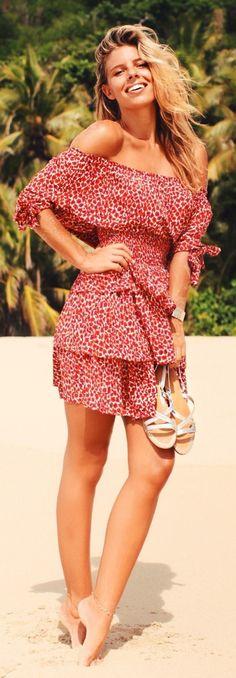 Red Floral Warm Weather Off Shoulder Dress by Natasha Oakley #red