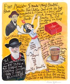 """Maira Kalman - """"Mindspace"""" for Mindful Magazine (2013-2014)   From the earliest days of the design of the magazine, I [had]  the idea of a back page devoted to an illustrator/artist sharing the content + workings of their mind, a humorous look at our thought process, a visual way of saying we don't have to take our thinking so seriously...  - Jessica von Hondorf, Art Director"""