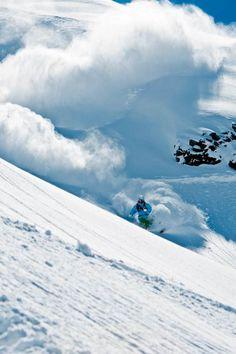 Powder skiing Portillo Chile