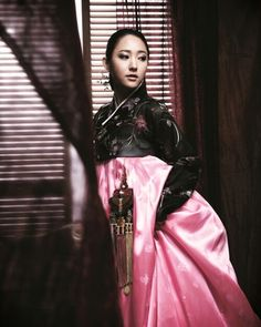 Stunning contrast black and pink hanbok