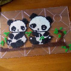 Panda perler beads by hannaperler // graphgan w sky blue background?