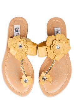 Kylie Floral Rhinestone Sandals In Mustard