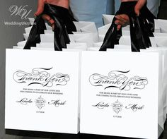 30 Personalized THANK YOU Bags for wedding guests with satin