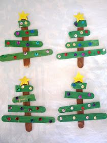 Here's a little craft Jack and I threw together last week.    We used five popsickle sticks for each tree. One for the trunk was painted br...