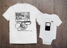 Cool Adult Onesie Set- Cassette and Ipod Set- Father Son Matching Shirts- Dad and Baby Sets- Mom and Baby Sets- Mother Daughter Set Mommy And Me Shirt, Daddy And Son, Dad To Be Shirts, Baby Shirts, Couple Shirts, Family Shirts, Father And Son, Mom And Baby, Baby Clothes Dad