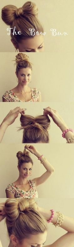 Diy hair bow bun tutorial