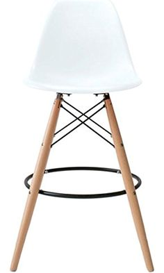 2xhome - White - Eames Style DSW Molded Plastic Bar Stool Modern Barstool Counter Stools with backs and armless Natural Legs Wood Eiffel Legs Dowel-Leg Best Price