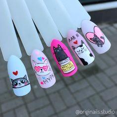 really cute nails Cat Nail Art, Animal Nail Art, Cat Nails, Pop Art Nails, Short Nails Art, Tammy Nails, Tree Nails, Kawaii Nails, Super Nails