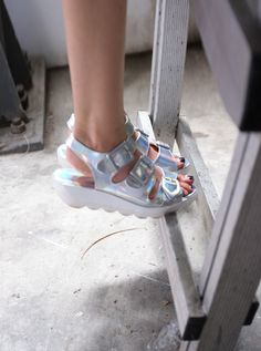 The Olive Shoppe: Silver Hologram Buckles Sporty Sandals