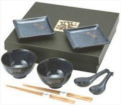10 PCS. Japanese Blue Dragonfly Sushi Plate Bowl Spoon Soy Dish Chopsticks Set