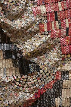 El Anatsui, Earth's Skin, detail, 2008, aluminum and copper wire, approximately 177 x 394 in., Courtesy of the artist and Jack Shainman Gallery, NY, Photo by Andrew McAllister for the Akron Art Museum