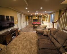 27 luxury finished basement designs page 4 of 5 for Long narrow basement design solution