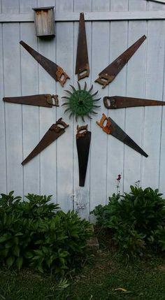 Saw Sun art - Upcycling İdeen Garden Crafts, Garden Projects, Garden Art, Garden Tips, Metal Yard Art, Metal Art, Outdoor Art, Outdoor Gardens, Garden Junk
