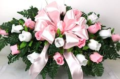 Beautiful Pink and White Roses Silk Flower Cemetery Tombstone Saddle #Crazyboutdeco