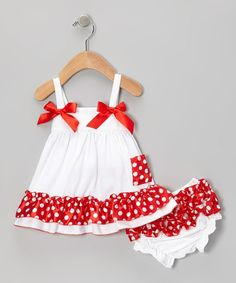 Take a look at this Royal Gem White & Red Polka Dot Swing Top & Diaper Cover - Infant today! Toddler Dress, Toddler Outfits, Baby Dress, Kids Outfits, Cute Outfits, Little Dresses, Little Girl Dresses, Girls Dresses, Baby Girl Fashion