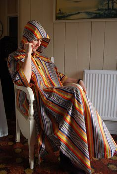 Vintage Jaeger Multicoloured 1970s hooded by WelshVintageStudio
