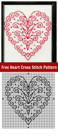 Get this Free Heart Cross Stitch Pattern for Valentine's Day - a fun and easy pattern just in time for the big day!