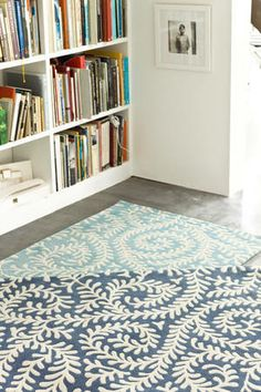 Dash and Albert Vine Denim Tufted/Carved Wool Rug Ships Free Wool Area Rugs, Wool Rug, Turquoise Rug, Dash And Albert, Rug Company, Fabric Rug, Classic Interior, Rugs On Carpet, Carpets