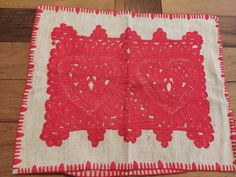 """Vintage transilvanian handmade embroidered red pillow case traditional """"Kalotaszegi írasos """"  made by handwoven linen Hemp Fabric, Red Pillows, Craft Supplies, Pillow Cases, Hand Weaving, Traditional, Handmade Gifts, Etsy, Vintage"""