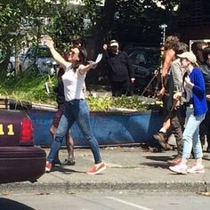 Awesome Lana (Regina) being funny #Once #BTS the awesome Once S5 premiere E1 #DarkSwan #Steveston Village #Richmond Vancouver BC Friday 7-17-15