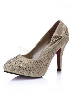 Shiny Bow Gold Spike Heel Glitter Cowhide Woman's High Heels