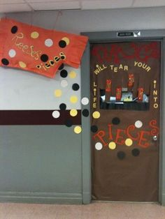 Borrowed the Reese's Pieces Teacher Doors, Classroom Teacher, Classroom Door, Drug Free Door Decorations, Drug Free Posters, Drug Free Week, Weed Drug, Red Ribbon Week, Reese's Pieces