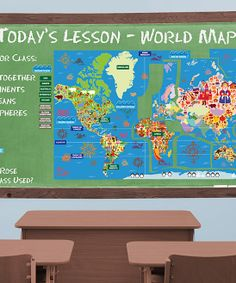 World Map Interactive Peel, Play & Learn Wall Decal Set