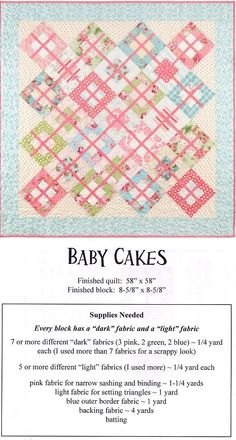 Baby Quilt Patterns - Love this pattern, not just for a baby quilt! And that it& easy level quilting. Lap Quilts, Scrappy Quilts, Small Quilts, Quilt Blocks, Baby Quilt Patterns, Applique Patterns, Baby Applique, Quilting Patterns, Baby Girl Quilts