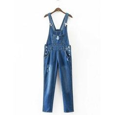 Buttoned Ripped Denim Overalls