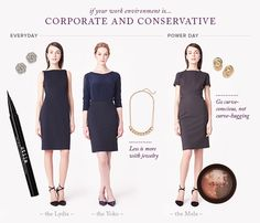 Corporate and Conservative Office? This style board shows everything you need to dress appropriately (while looking cute)!
