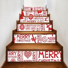6 Pieces Christmas Letters Ornaments Print Home Stairs Stickers - Red Stair Stickers Character Christmas Tree Village, Christmas Tree Forest, Christmas Stairs, Christmas Tree With Gifts, Christmas Home, Christmas Letters, Christmas Ornaments, Xmas, Christmas Ideas