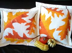 Outdoor pillow oak leaf autumn throw pillow painted by crabbychris, $41.00