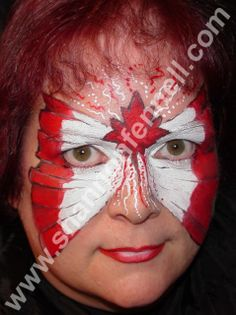 Canada Flag-erfly, will have to attempt this Butterfly Face Paint, Canada 150, Theatrical Makeup, Face Painting Designs, Flags Of The World, Painting For Kids, Just For Fun, Halloween Face Makeup, Day