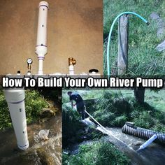 How To Build Your Own River Pump - If SHTF and the power goes this will still work and pump water with no electricity. This is vital if you plan to stay put either at a bug out location or a temporary residence. Homestead Survival, Wilderness Survival, Camping Survival, Outdoor Survival, Survival Prepping, Emergency Preparedness, Survival Gear, Survival Skills, Emergency Supplies