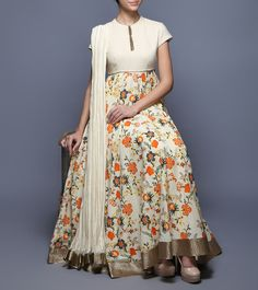 #Beige #Digitally Printed #Voile & #Lurex #Anarkali #Suit from #Balance By #Rohit #Bal at #Indianroots