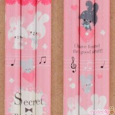 red lead pink pencil with cute rabbit music note with glitter by Kamio Wooden Pencils, Japanese Stationery, Pink Animals, Red Led, Music Notes, Cute Designs, Rabbits, Colored Pencils, Red Color