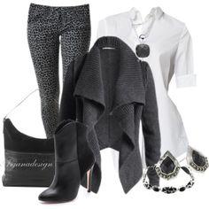 """Esprit Cardigan"" by arjanadesign on Polyvore  (Leggings - animal print)"