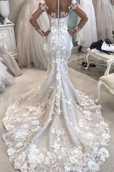 2019 Detachable Train Long Sleeves Scoop Mermaid Wedding Dresses With Applique Tulle € - IdealRobe.fr for mobile Western Wedding Dresses, Long Wedding Dresses, Cheap Wedding Dress, Designer Wedding Dresses, Bridal Dresses, Wedding Dress Long Train, Western Weddings, Most Beautiful Wedding Dresses, Wedding Dress Detachable Train