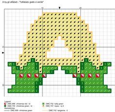 alfabeto giallo e verde: A