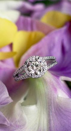 This split shank band adds a glamorous effect to this beautiful halo ring.