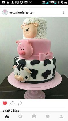 farm animal cake with a cute sheep, pig and cow