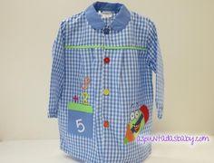 """Bata escolar mod. Lápiz color azul. 14.90€ + Bordado nombre """"GRATIS"""" Color Azul, Polo Ralph Lauren, Polo Shirt, Shirt Dress, Sewing, Mens Tops, Shirts, Dresses, Fashion"""