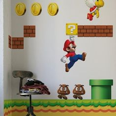 Nintendo Wall Graphics - New Super Mario Bros - It's a tale as old as time. Boy grows up, completely enamored with a computer-generated Italian plumber. He pumps his college fund, in quarter form, into Donkey Kong. Later, he grows inch-thick calluses Super Mario Bros Nintendo, New Super Mario Bros, Super Mario Brothers, Nintendo Ds, Large Wall Decals, Nursery Wall Decals, Vinyl Wall Stickers, Super Mario Sunshine, Mario Bros.