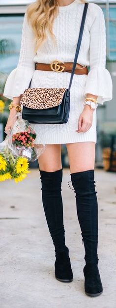 #Winter #Outfits / White Bell Sleeve Sweater Dress + Black OTK Boots